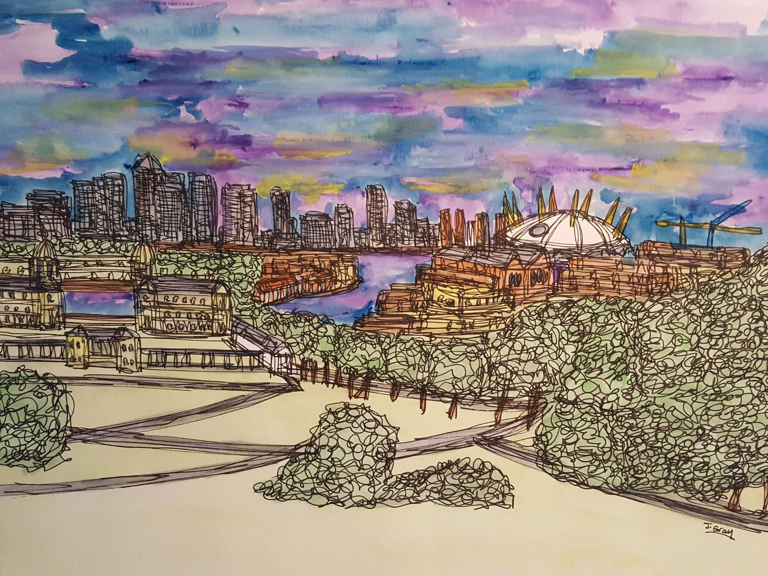 Dramatic Skies over Greenwich, 2018 | Watercolour & Fine liner on paper | 43 x 53 cm | £295