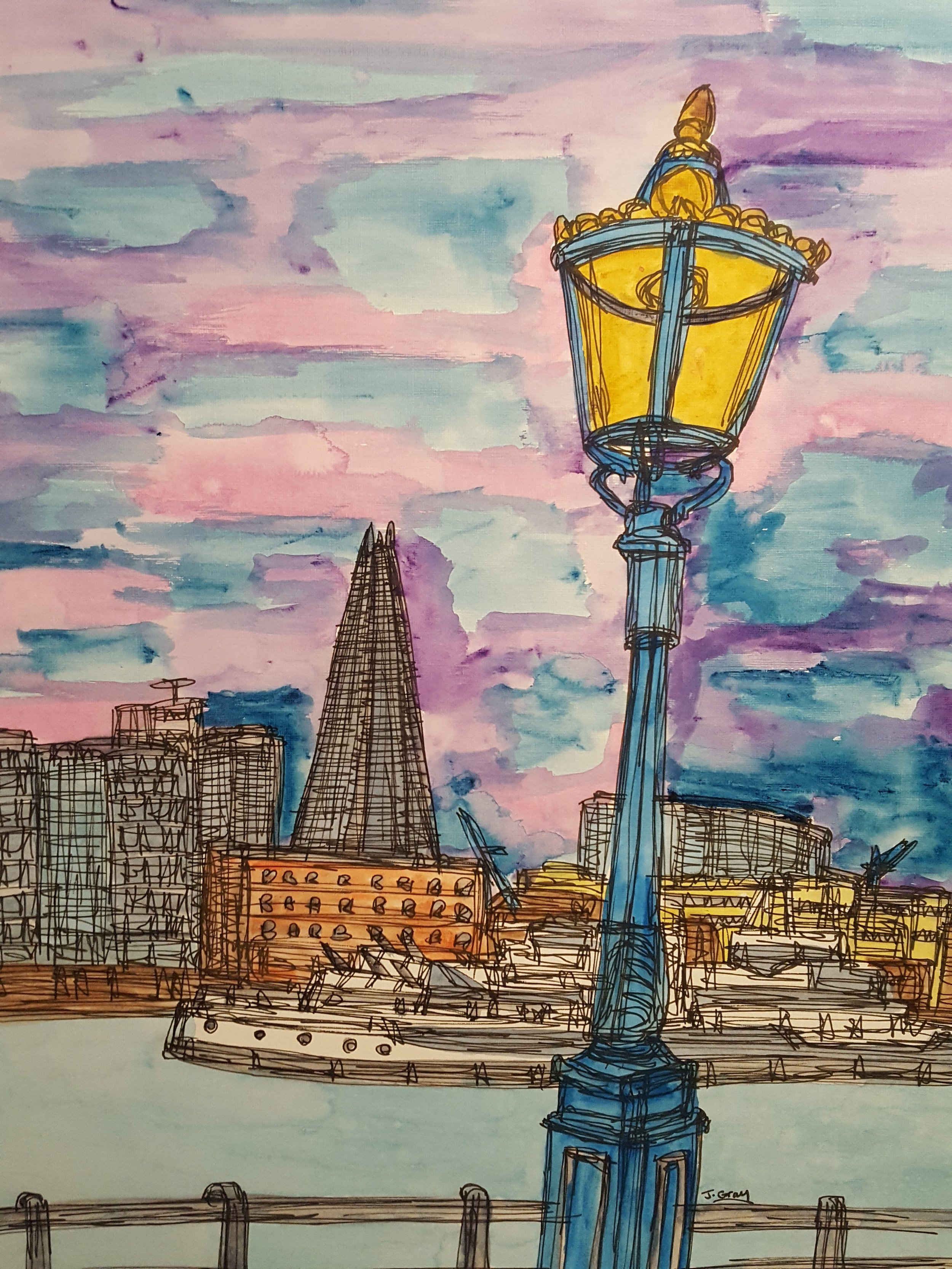Lamp in front of The Shard, 2018 | Watercolour & fine liner on paper | 53 x 43 cm | £295