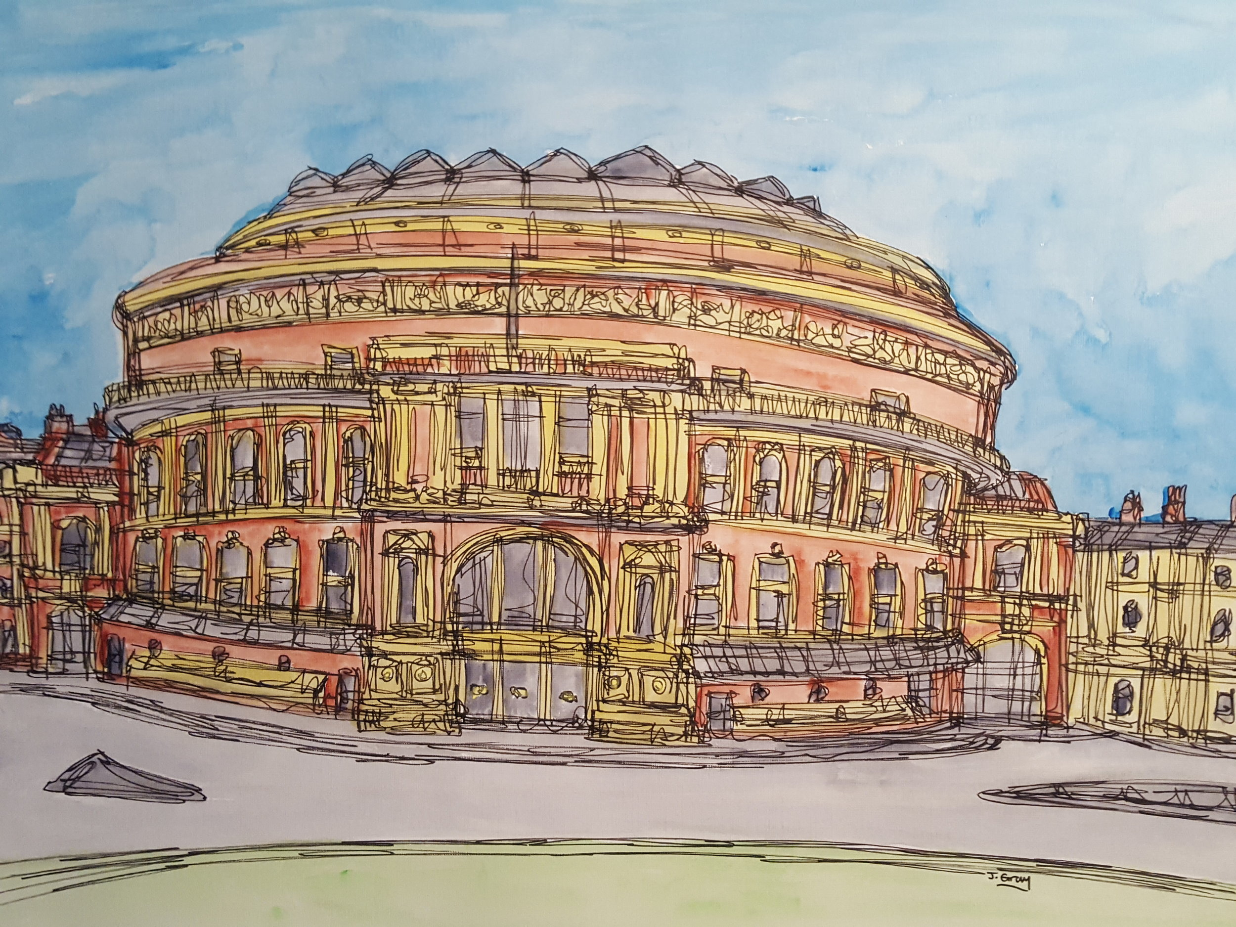 Royal Albert Hall, 2018 | Watercolour & Fine liner on paper | 43 x 53 cm | £295