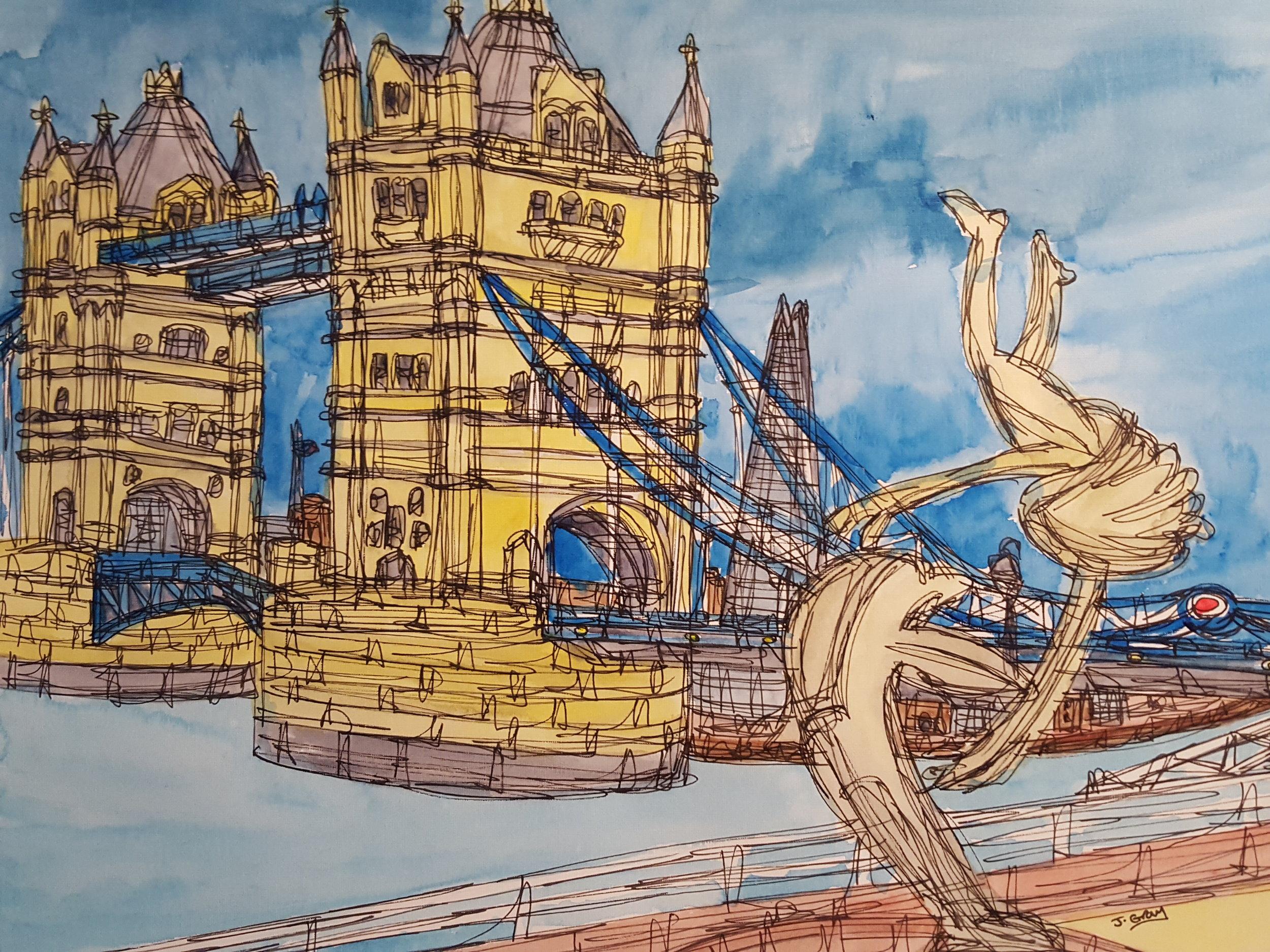 Tower Bridge Overview, 2018 | Watercolour & Fine liner on paper | 43 x 53 cm | £295