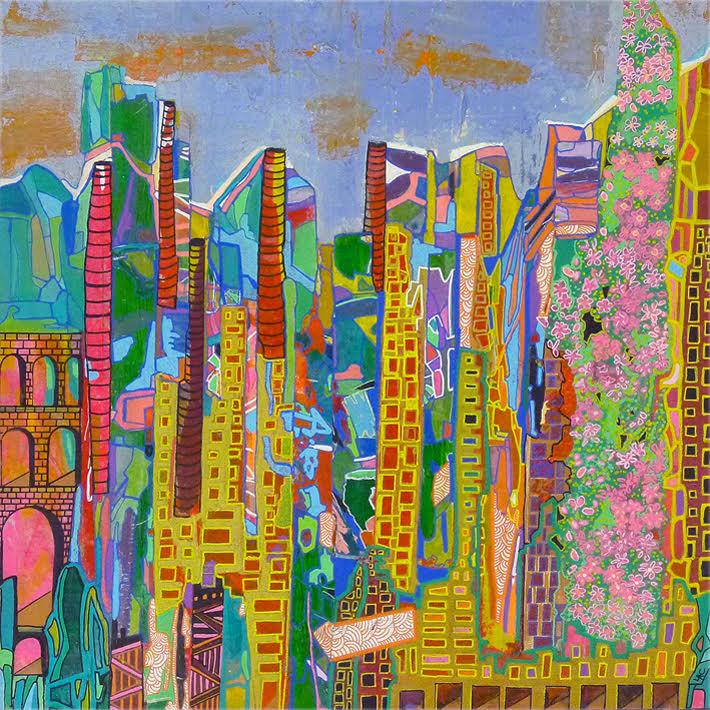 Cidade II, 2018 | Mixed media on canvas | 44 x 44 cm | £600