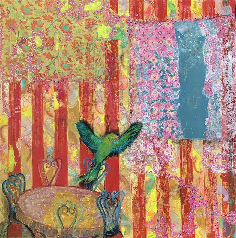 Paris-Nice-Mumbai, 2017 | Mixed media on canvas | 100 x 100 cm | £1,200