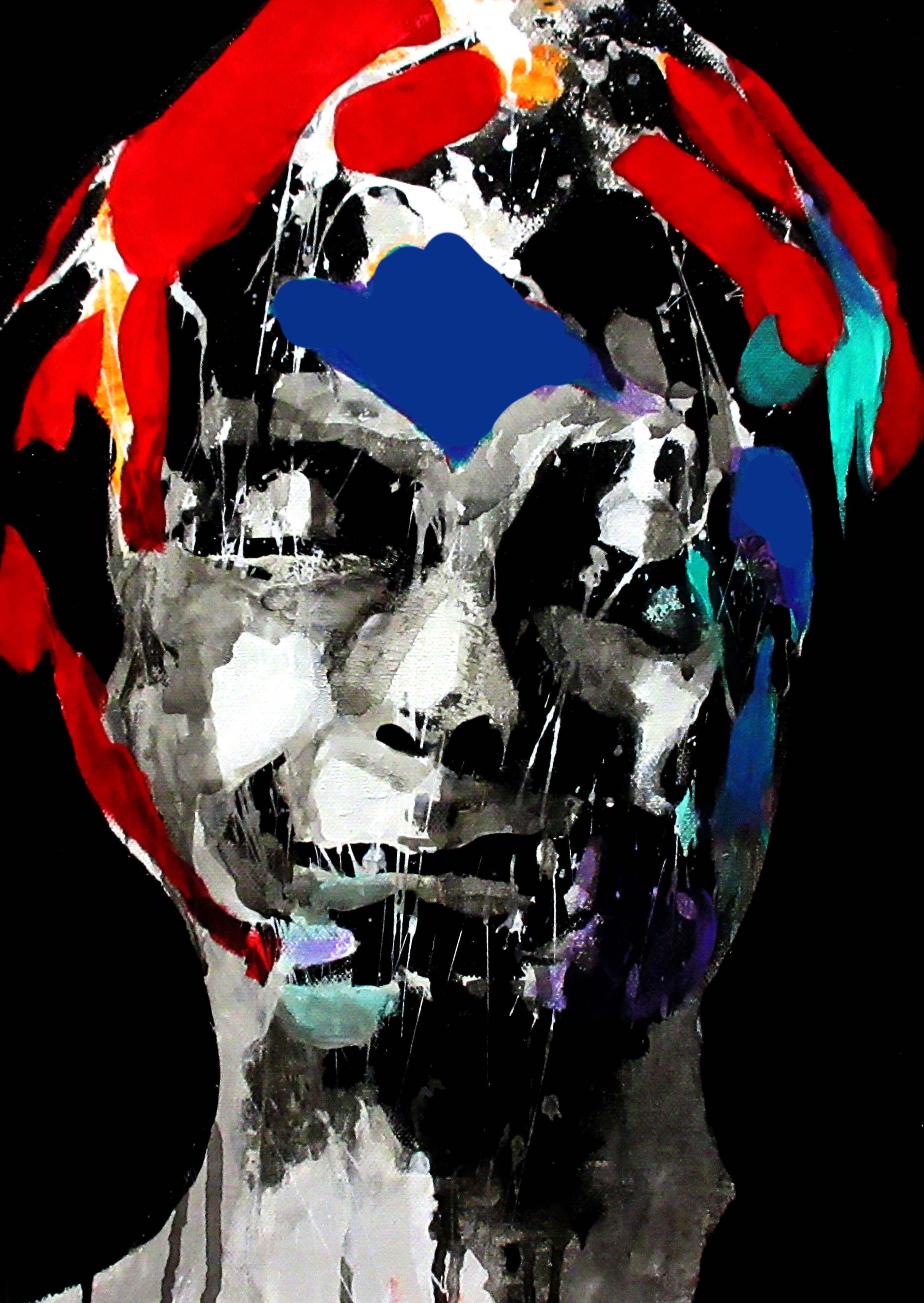 Il peint avec sa tête, 2018 | Mixed media on canvas | 40 x 25 cm | £220