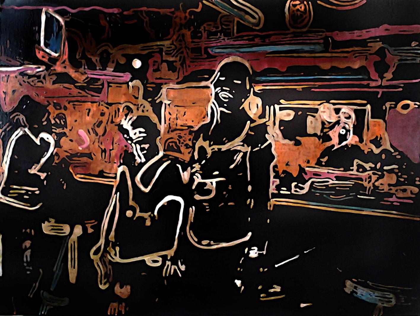 The Pub, 2015 | Mixed media on canvas | 100 x 76 cm | £1,500
