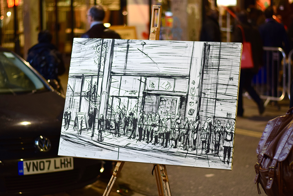 An ink sketch of queues at the Old Truman Brewery - this will be oil painted for The Shoreditch Collection.