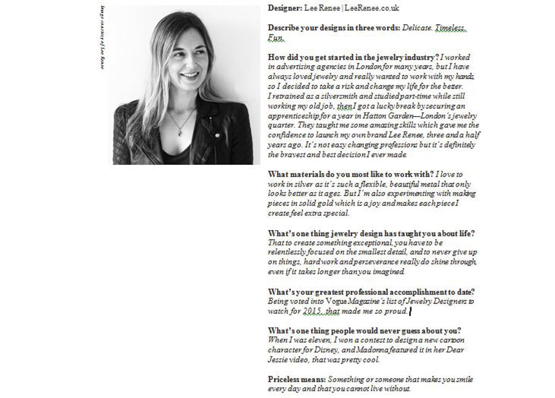 Lee Renee Interview