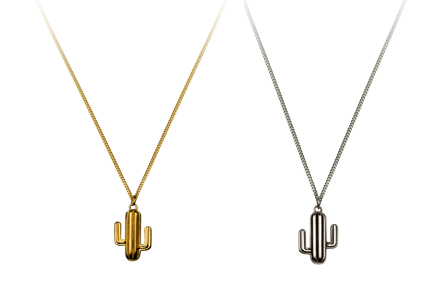 Small Cacti Necklaces in gold and silver