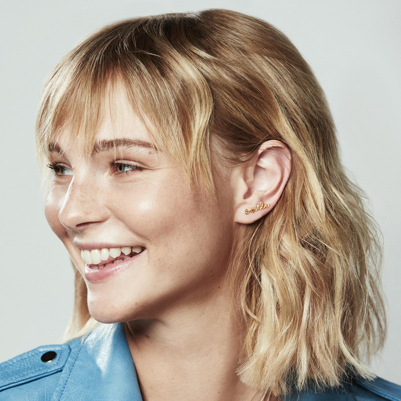 smile diamond slider earring