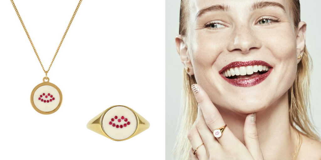 Lee Renee Ruby Lip Signet ring and necklace
