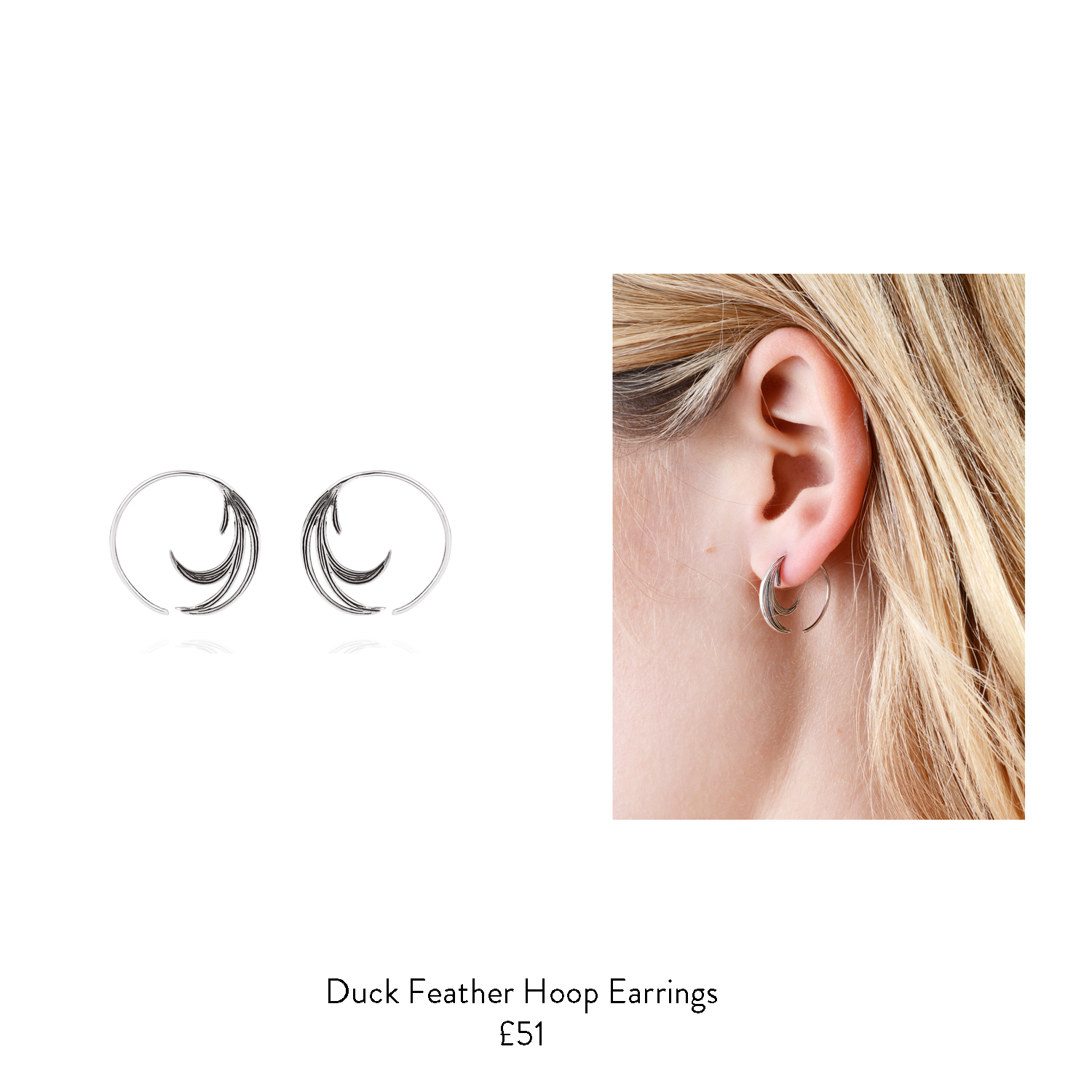 60th birthday gift ideas for her silver feather hoop earrings