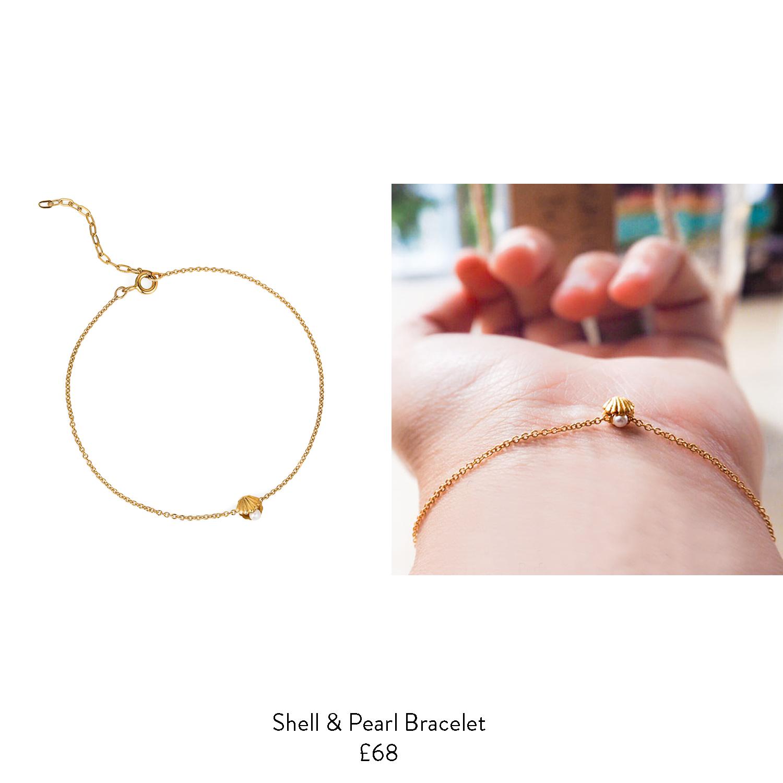 leaving gift ideas for her shell pearl gold bracelet