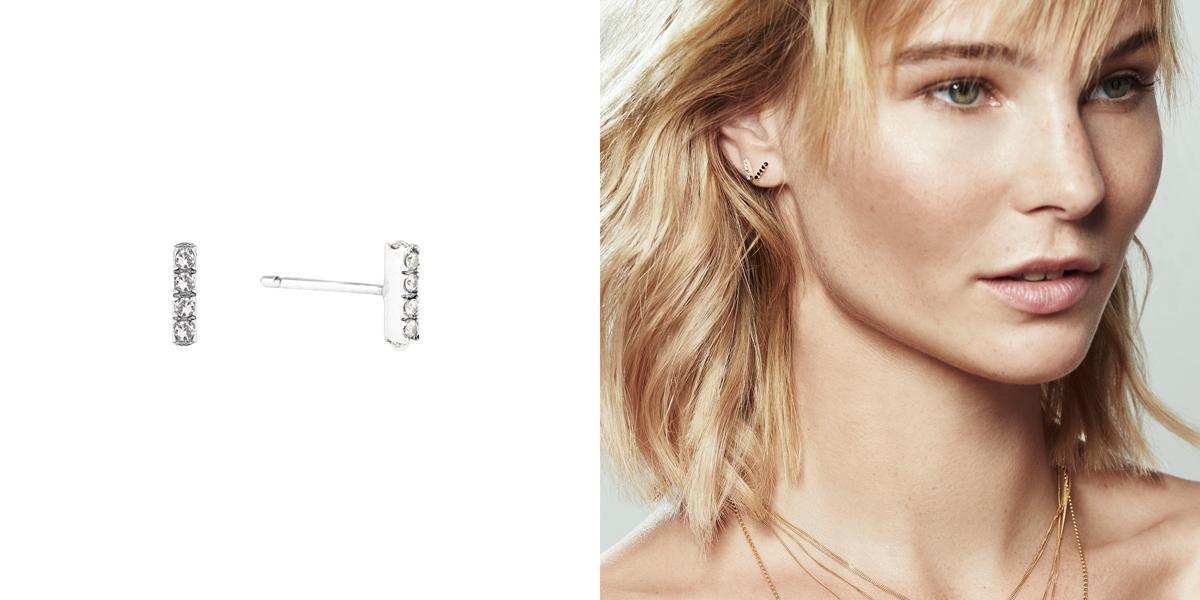 White Diamonds silver bar earrings - simple, elegant and timeless