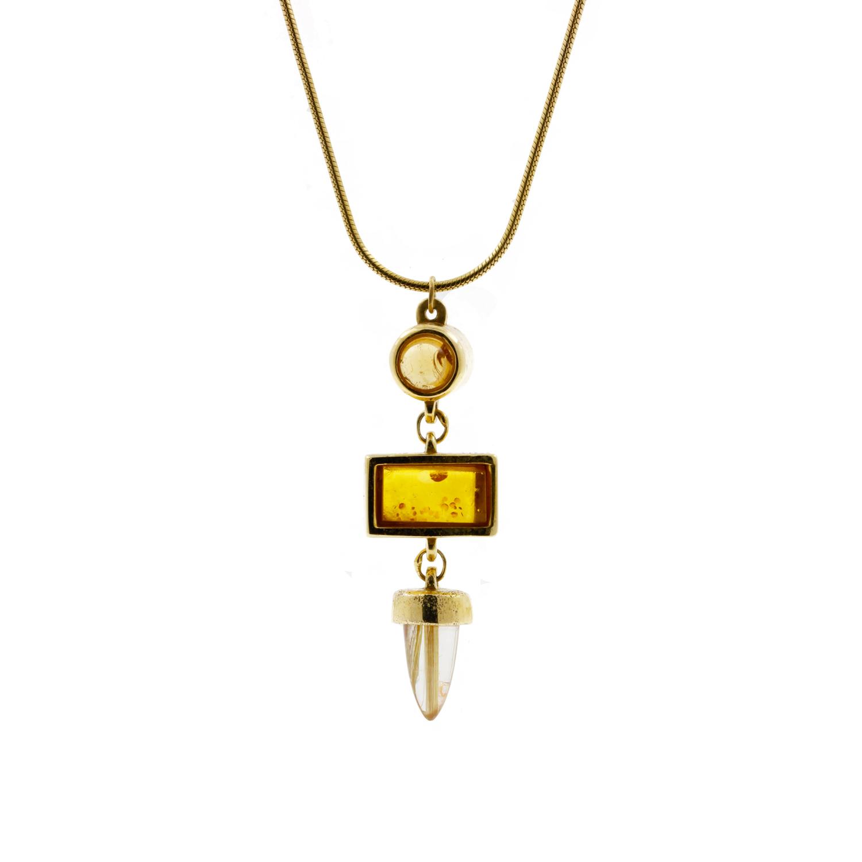 Amber and Rutilated Quartz Necklace