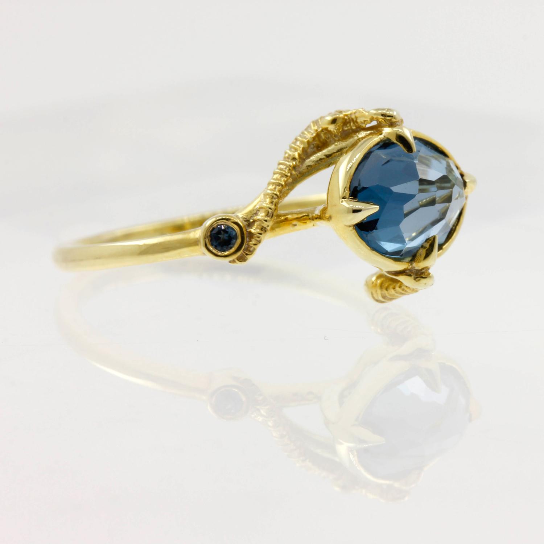 Seahorse Blue Topaz Ring