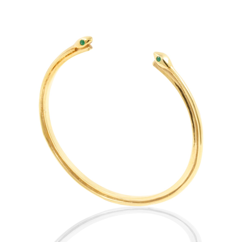 Snake Emerald Bangle