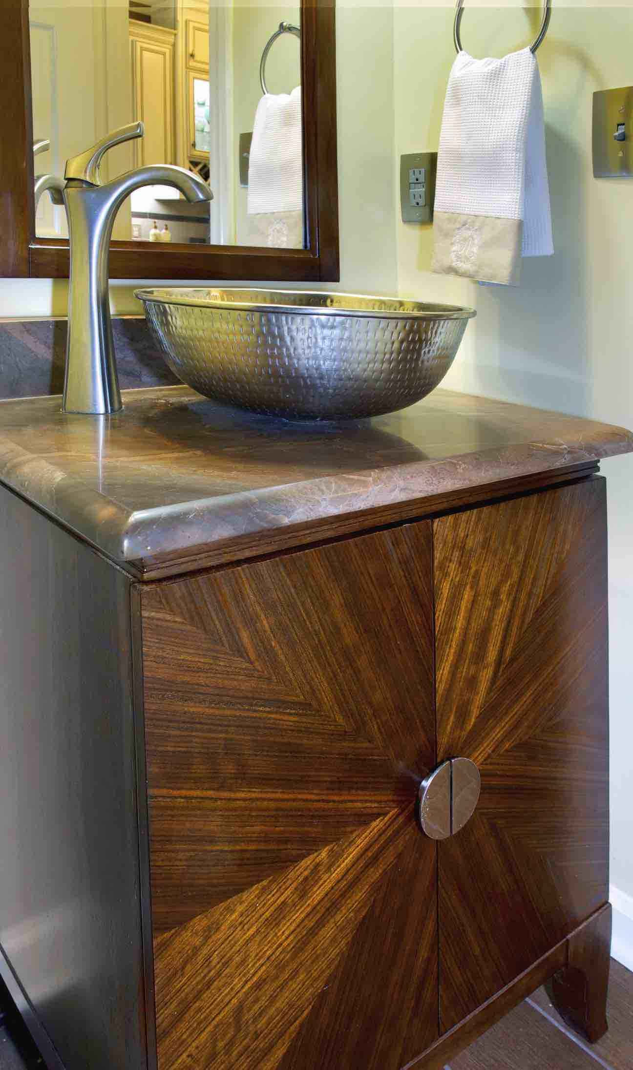 180 Spaces | Interior Design Turnarounds - Power Room remodel featuring hammered vessel sink