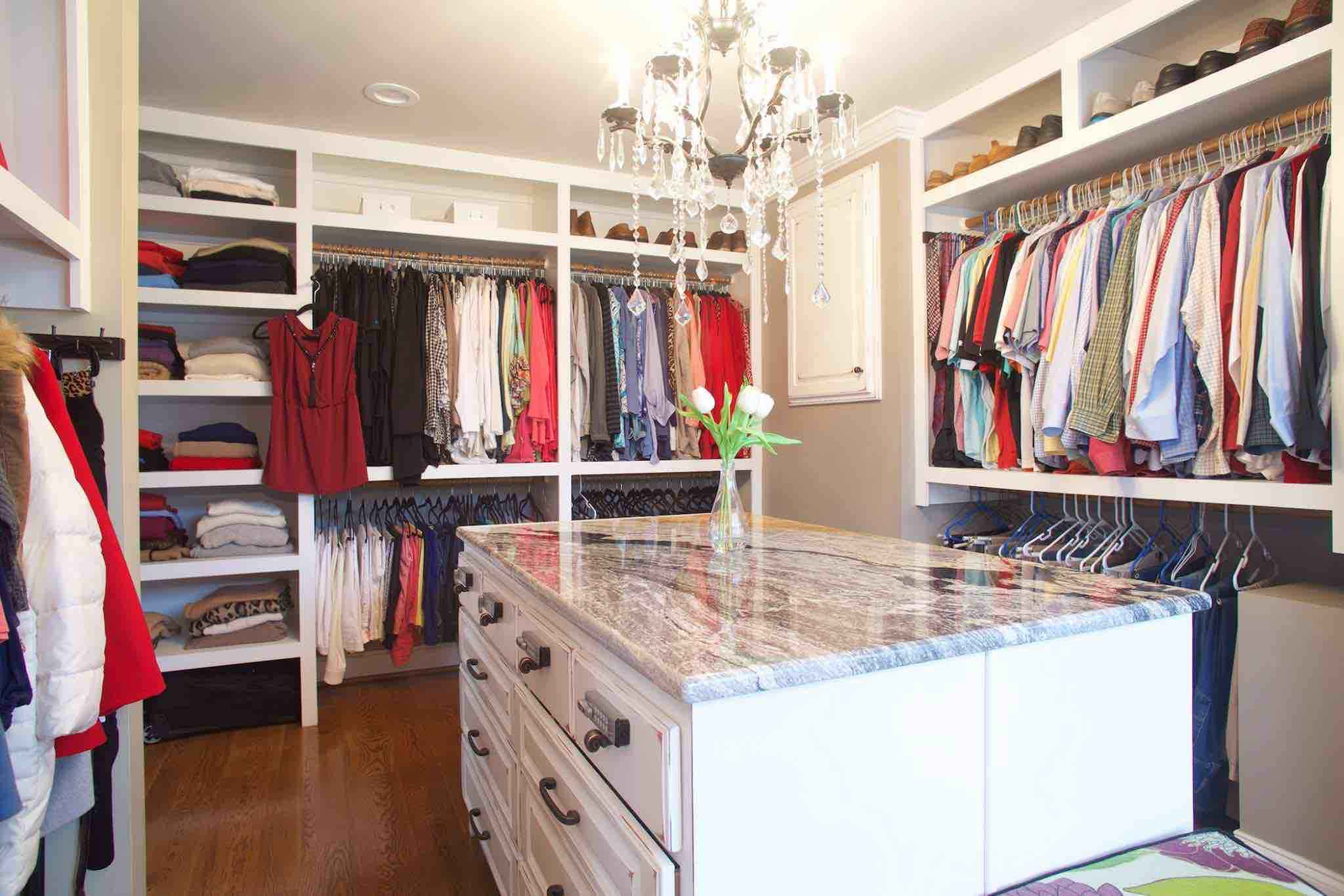 180 Spaces | Interior Design Turnarounds - Master Closet with custom island, keyed entry jewelry drawers & a sexy little black chandelier!