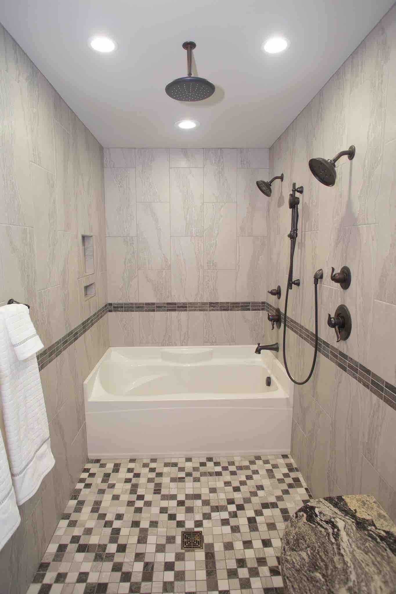 180 Spaces | Interior Design Turnarounds - Master Bath remodel featuring tub inside the doorless shower!  Great for doggy bath time!