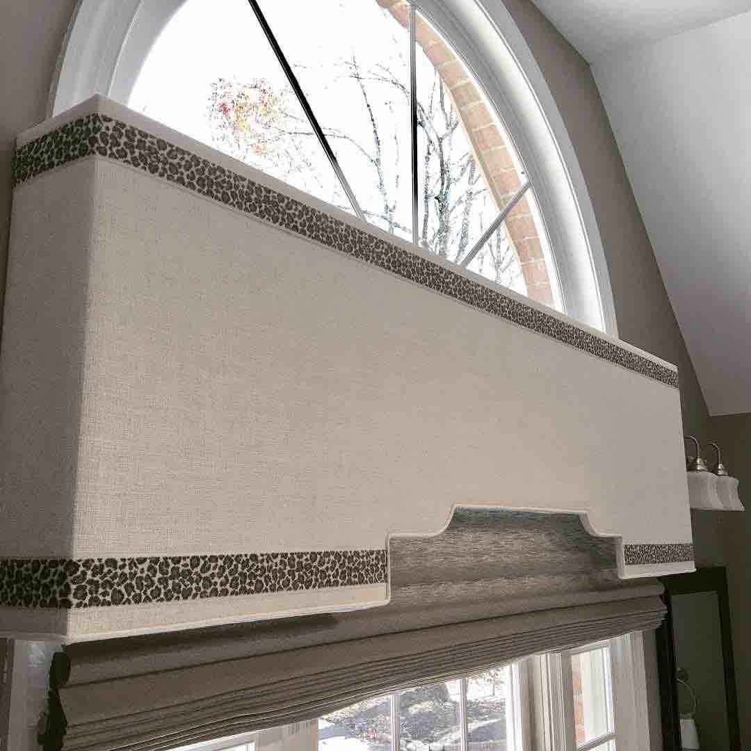 180 Spaces | Interior Design Turnarounds - Custom Cornice with hand sewn tap trim with Silhouette roman shades by @HunterDouglas