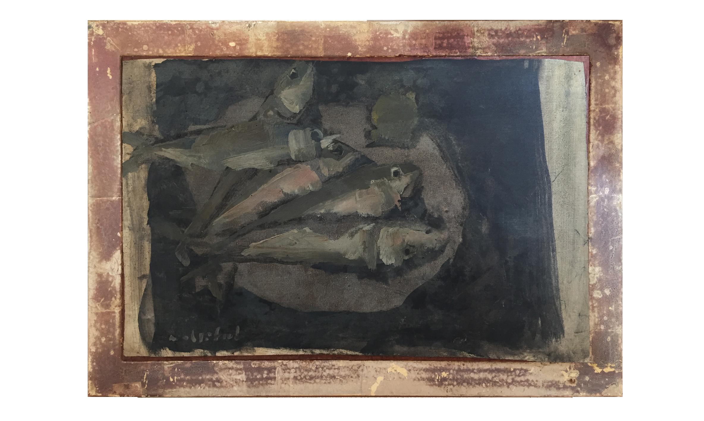 Fische, Datum unbekannt, 50 x 32 cm, Öl auf Leinwand auf Holzplatte, Gerahmt in Künstlerrahmen Holz, Weissgold platiniert, CHF 1'800.–