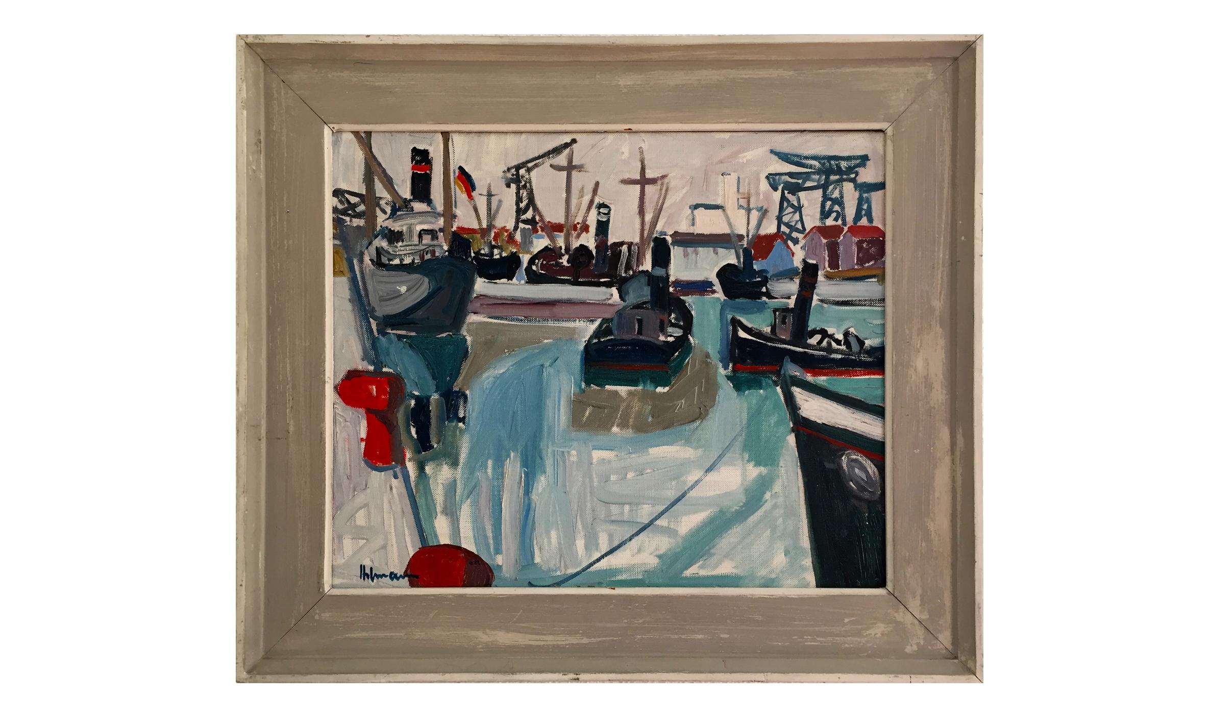 Hafen, Datum unbekannt, 46 x 39 cm, Öl auf Leinwand, Gerahmt in Künstlerrahmen Holz, grau gestrichen, CHF 1'700.–