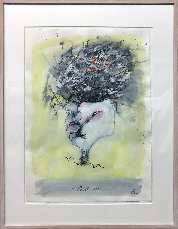 Der Fanatiker, 2011, Mischtechnik auf Büttenpapier, 50 x 70 cm, Holzrahmen, Rahmenmass 71 x 93 cm