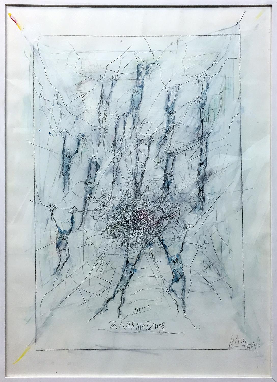 Die Vernetzung, 2016, Mischtechnik auf Büttenpapier, Holzrahmen, Rahmenmass 80 x 100 cm