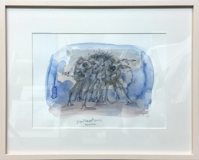 Gesellschaftliches Wesen, 2015, Mischtechnik auf Papier, 37 x 26 cm, Holzrahmen, Rahmenmass 54 x 43 cm