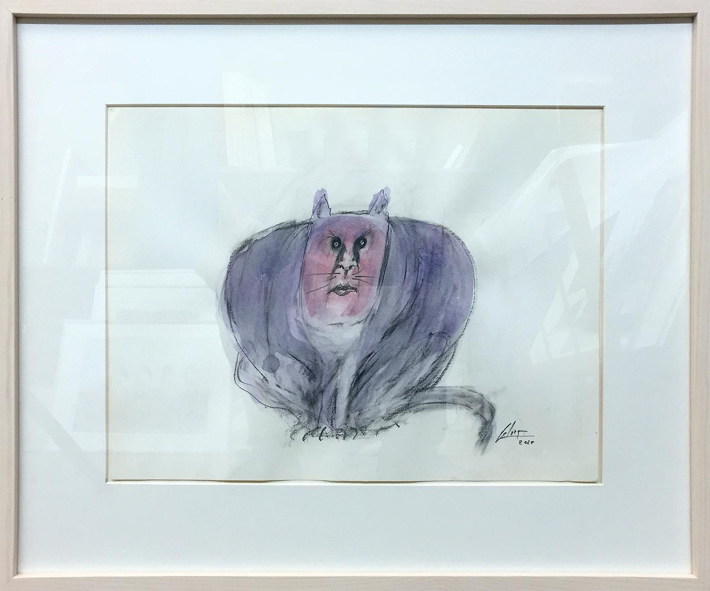 Katze 2, 2010, Mischtechnik auf Papier, 40 x 30 cm, Holzrahmen, Rahmenmass 57 x 47 cm