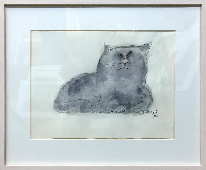Katze 1, 2010, Mischtechnik auf Papier, 40 x 30 cm, Holzrahmen, Rahmenmass 57 x 47 cm