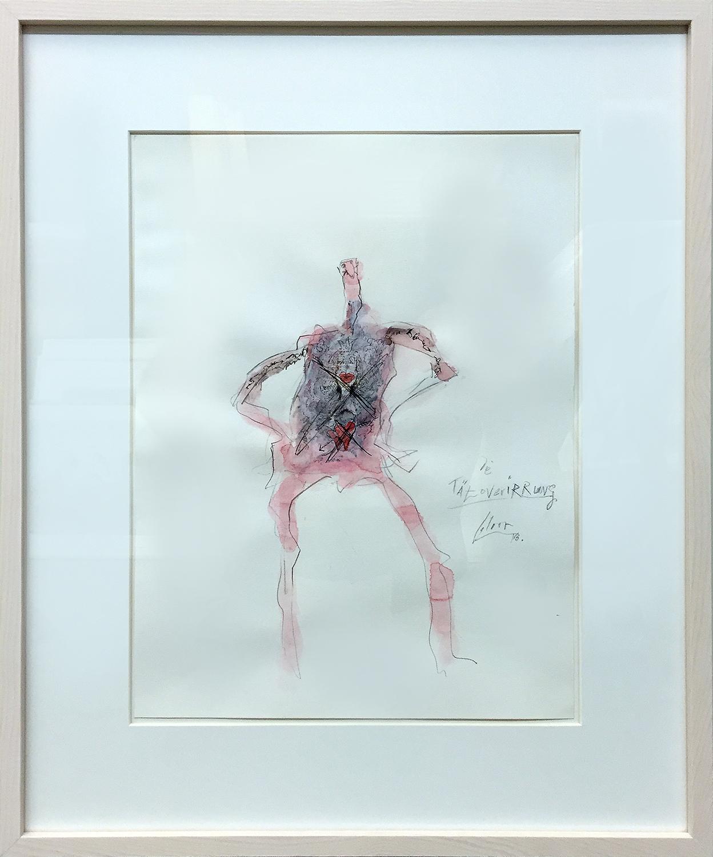 Tätoverirrung, 2013, Mischtechnik auf Büttenpapier, 30 x 40 cm, Holzrahmen, Rahmenmass 48 x 58 cm