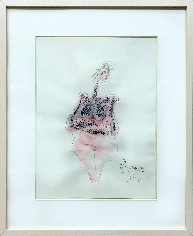 Tätowirrung, 2013, Mischtechnik auf Büttenpapier, 30 x 40 cm, Holzrahmen, Rahmenmass 48 x 58 cm
