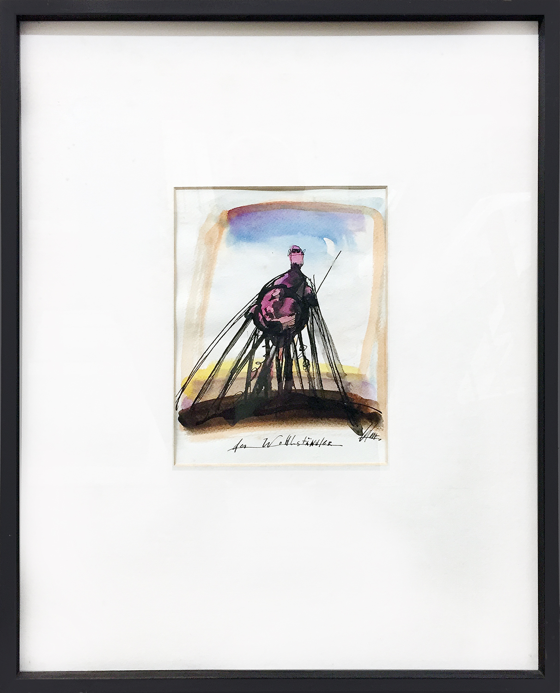 Der Wohlständler, 1993, Tusche, Aquarell, 16 x 21 cm, Holzrahmen, Rahmenmass 41 x 51 cm