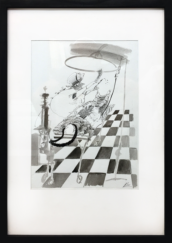 Ami-Kliniken, 1985, Tusche auf Papier, 21 x 31 cm, Holzrahmen, Rahmenmass 35 x 50