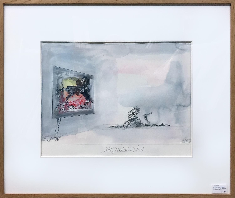 Zuschauerlich, 2009, Mischtechnik auf Büttenpapier, 40 x 30 cm, Holzrahmen, Rahmenmass 62 x 51 cm