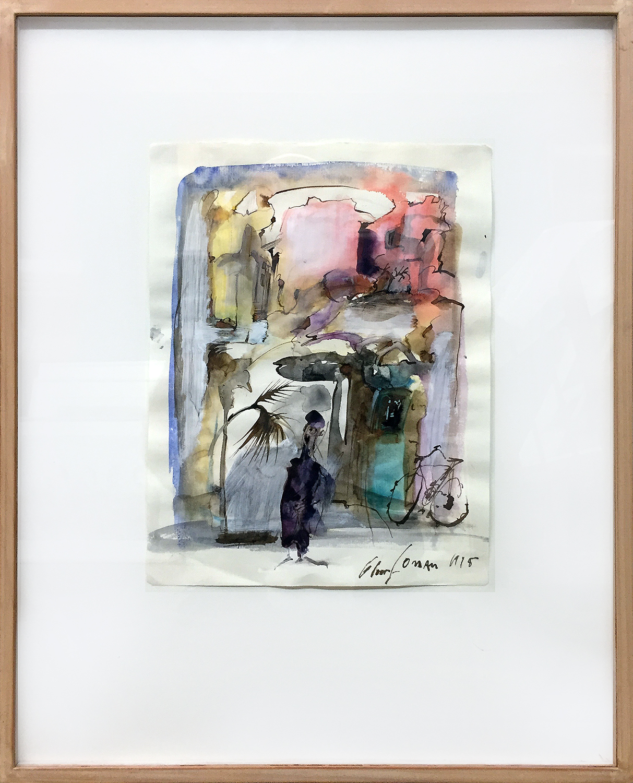 Oman, 1995, Tusche Aquarell auf Zeichenpapier, 29 x 22 cm, Holzrahmen, Rahmenmass 50 x 40 cm