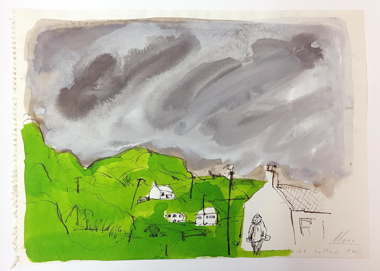 Tarbert Schottland, 1978, Tusche Aquarell auf Zeichenpapier, 35 x 25 cm, ohne Rahmen