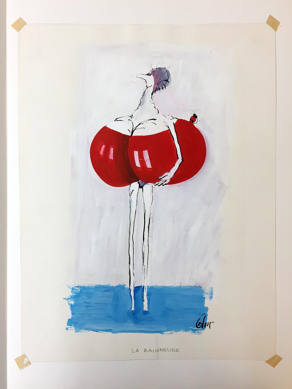 La Baigneuse, 1972, Mischtechnik auf Zeichenpapier, 30 x 40 cm, ohne Rahmen