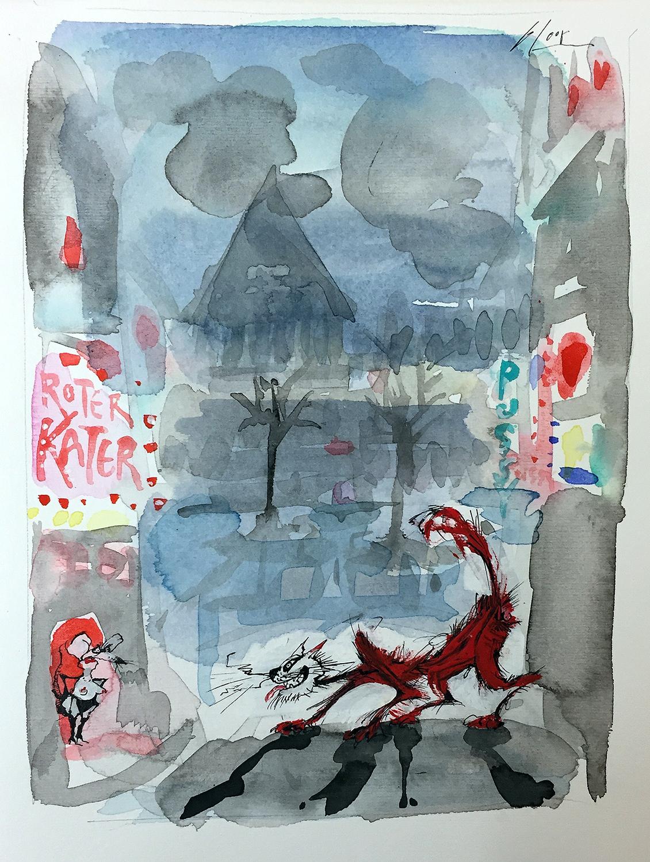 Roter Kater, 1996, Tusche Aquarell auf Zeichenpapier, 19 x 26 cm, ohne Rahmen