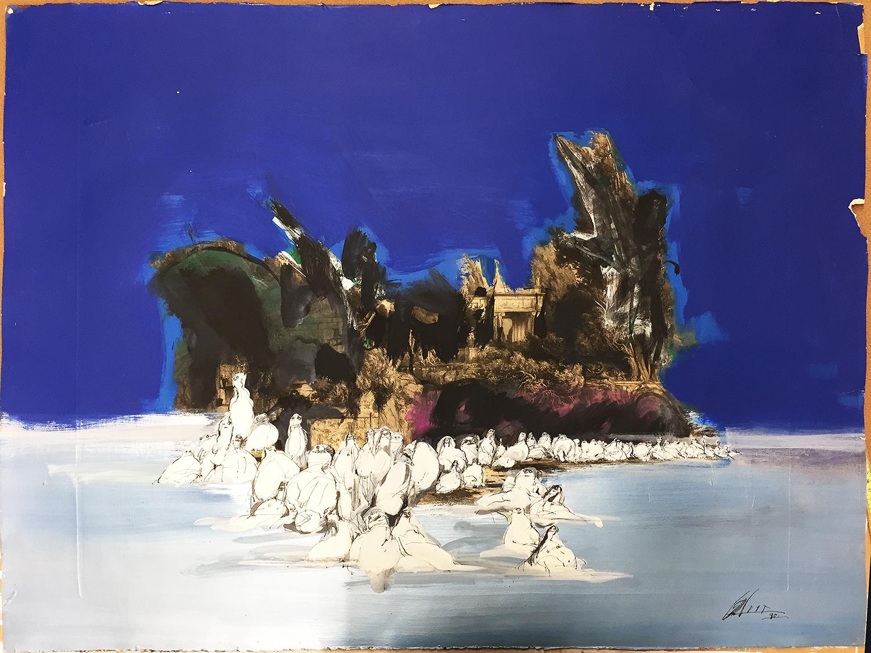Die Toteninsel, 1990, Mischtechnik auf Büttenpapier, 93 x 71 cm, ohne Rahmen