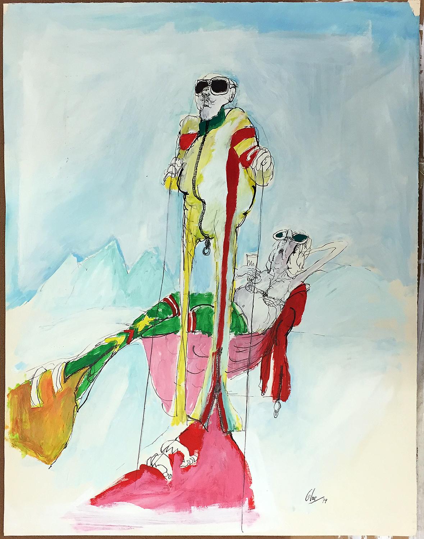 Ski, 1974, Mischtechnik auf Zeichenpapier, 55 x 68 cm, ohne Rahmen
