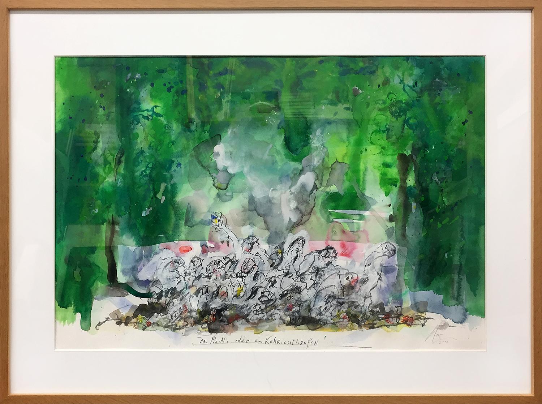 Das Picknick ..., 2006, Mischtechnik auf Fabriano, 48 x 38 cm, Holzrahmen, Rahmenmass 70 x 50 cm