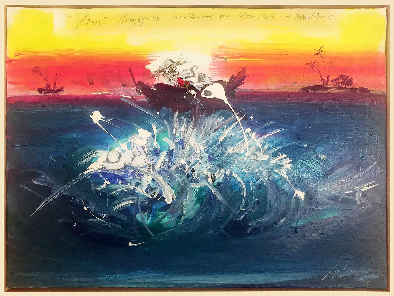 E. Hemingway, der alte Mann und das Meer, 2001, Acryl auf Leinwand, 35 x 25 cm, Schattenfugenrahmen Holz