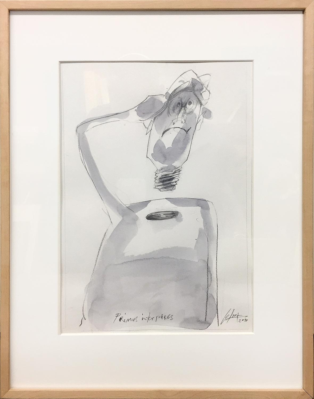 Primus Interpares, 2010, Bleistift und Tusche auf Büttenpapier, 30 x 40 cm, Holzrahmen, Rahmenmass 48 x 58 cm
