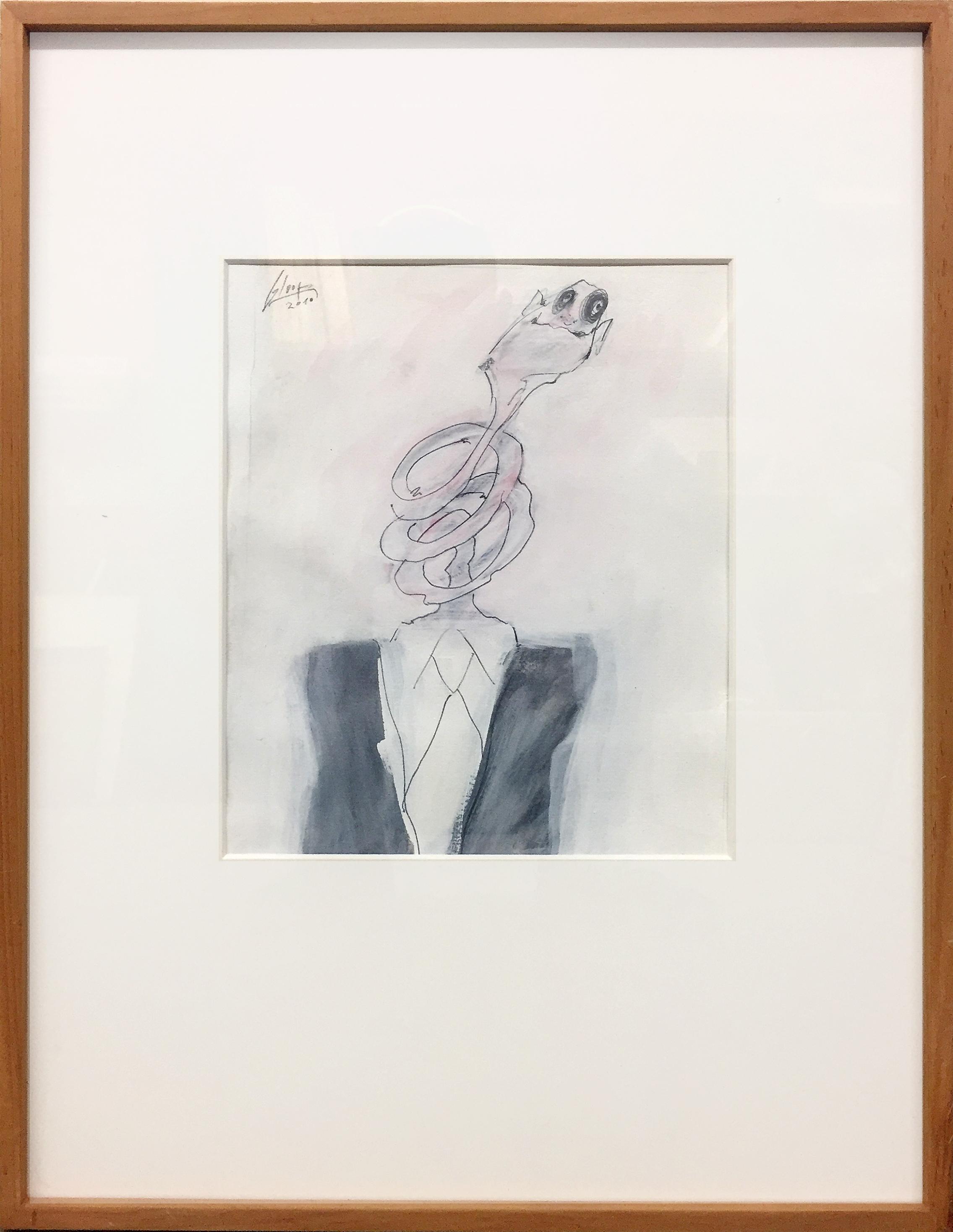 Ohne Titel, 2010, Bleistift und Tusche auf Büttenpapier, 25 x 30 cm, Holzrahmen, Rahmenmass 48 x 58 cm