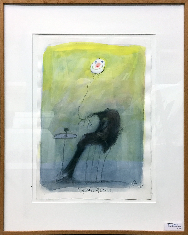 Tragischer Optimist, 2009, Mischtechnik auf Büttenpapier, ca. 30 x 45, Holzrahmen, Rahmenmass ca. 50 x 74 cm