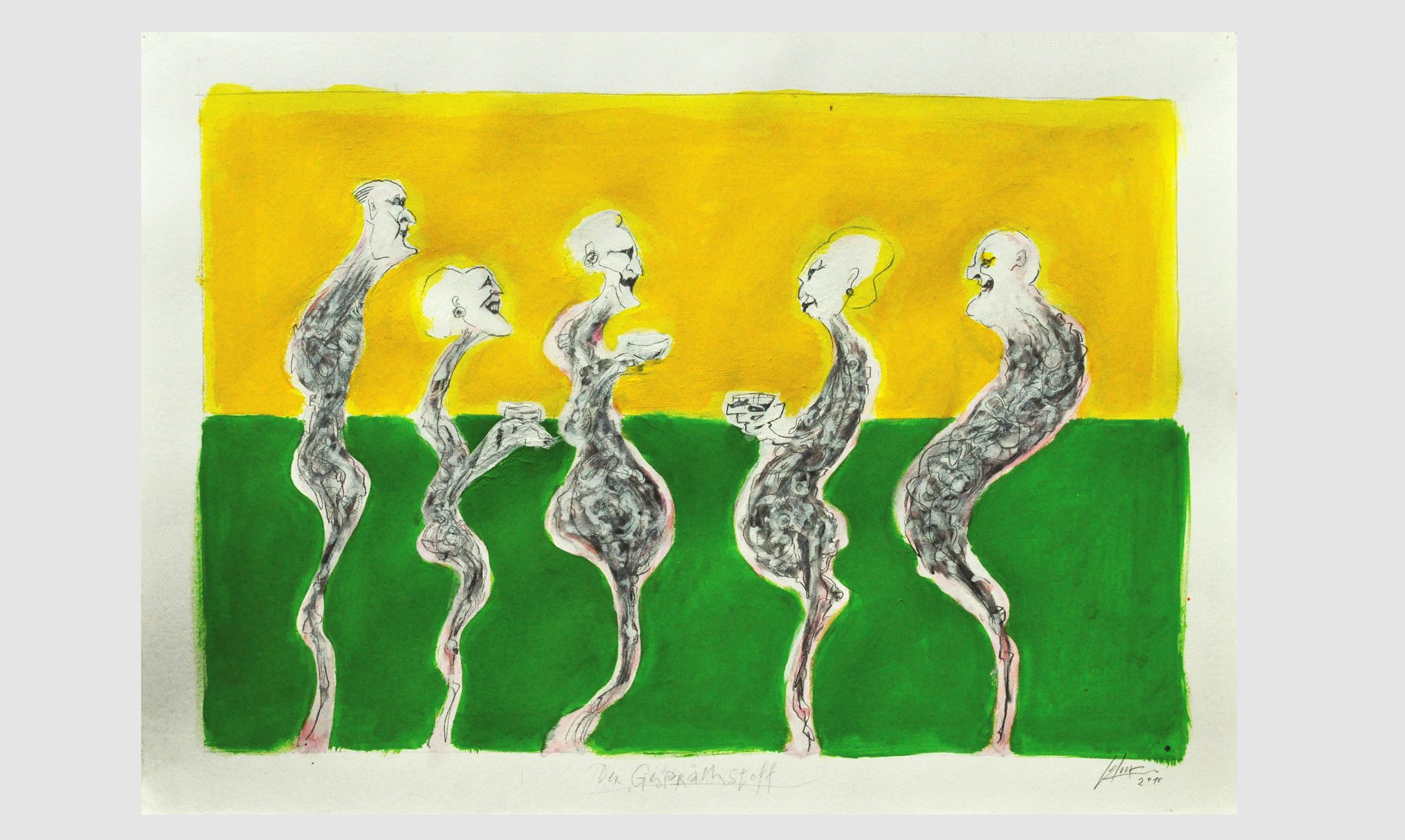 Der Gesprächsstoff, 2010, Mischtechnik auf Büttenpapier, ca. 70 x 50, Holzrahmen, Rahmenmass ca. 100 x 70 cm