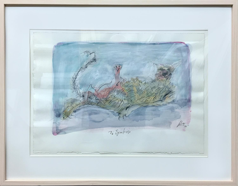 Die Symbiose, 2014, Mischtechnik auf Büttenpapier, 46 x 35 cm, Holzrahmen, Rahmenmass 65 x 53 cm