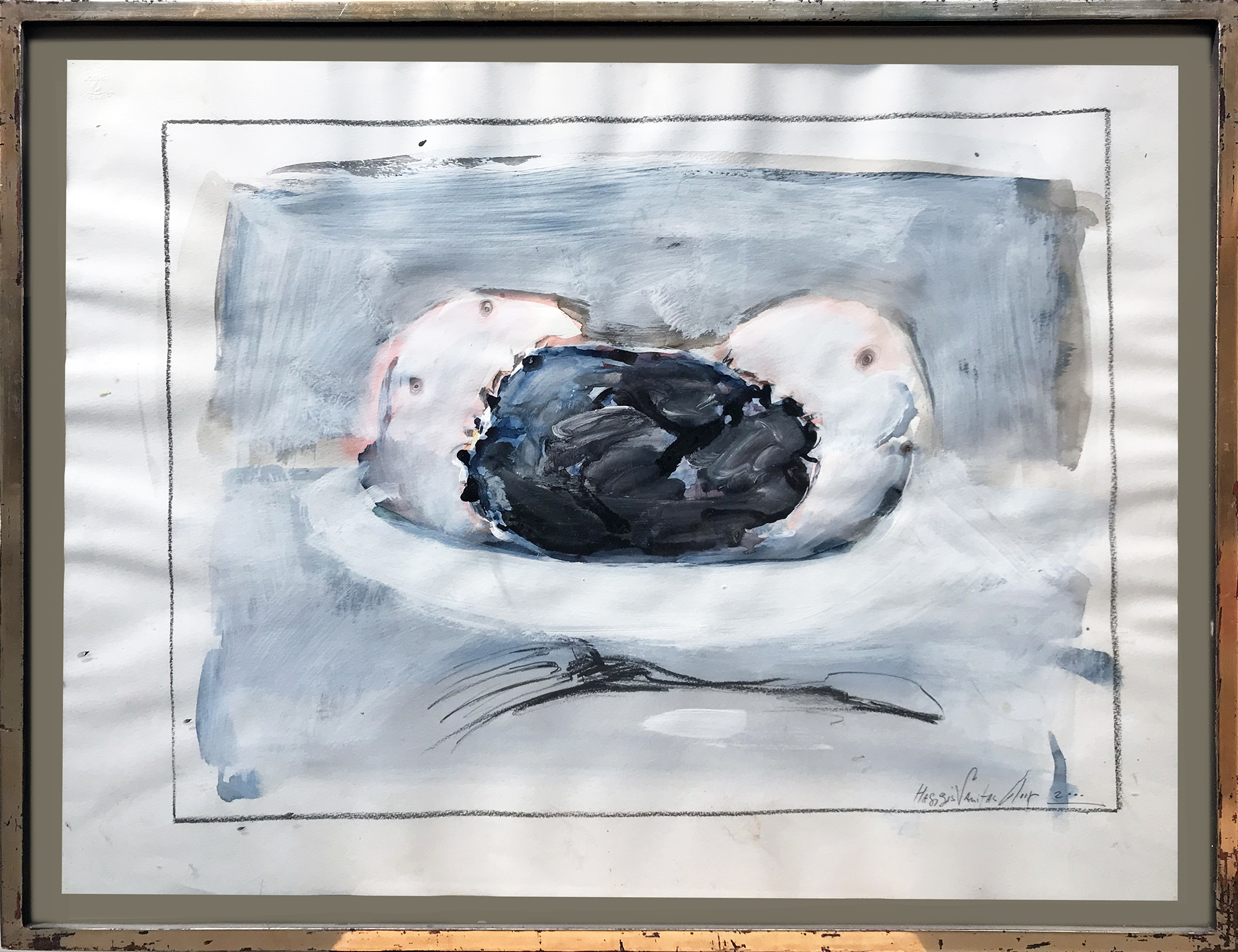 Haggis Vanitas, 2000, Mischtechnik auf Büttenpapier, 60 x 55 cm, Holzrahmen, Rahmenmass 65 x 50 cm