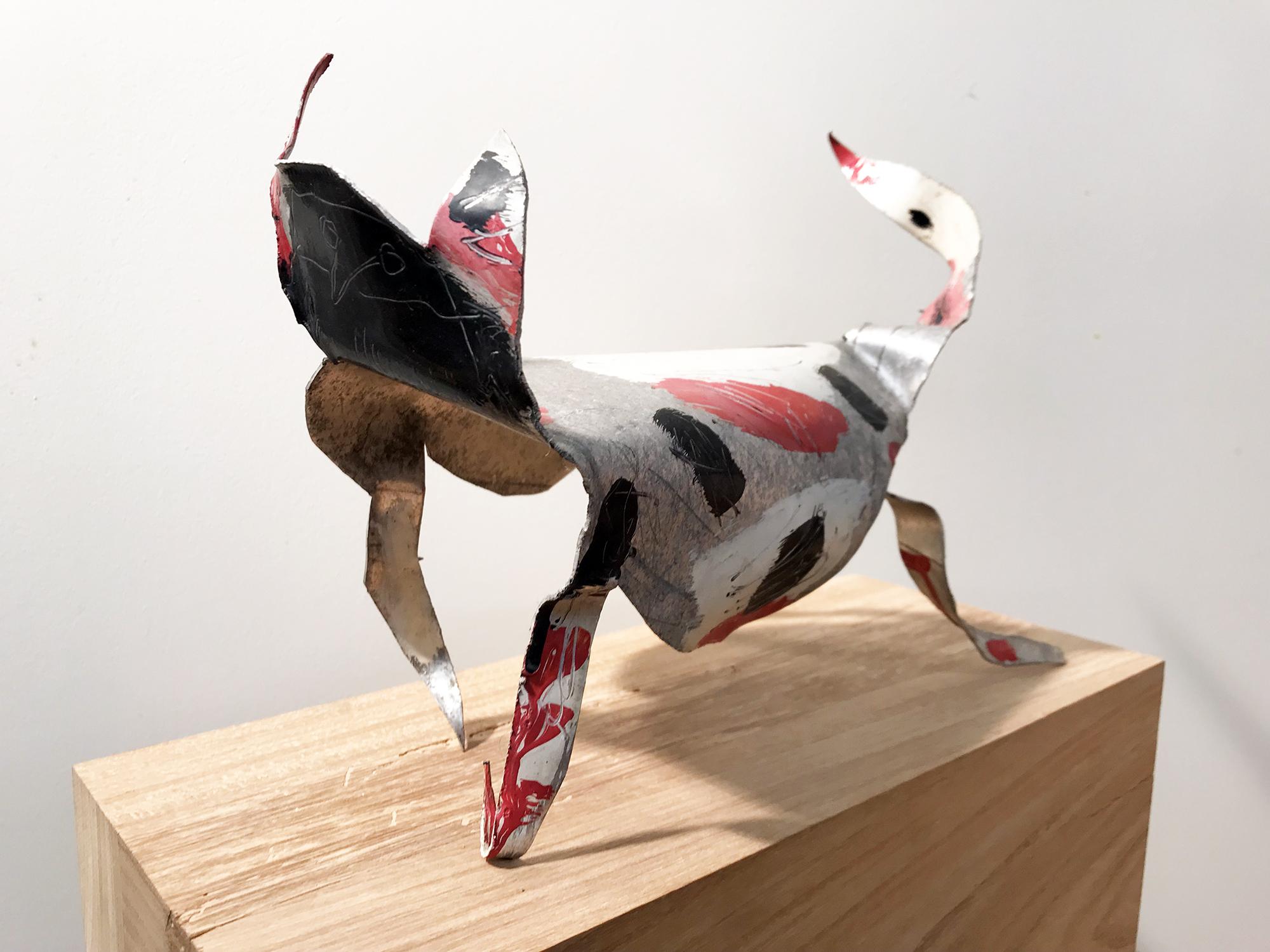 Katze, Autolack auf Aluminium, ca. 28 x 35 x 30 cm